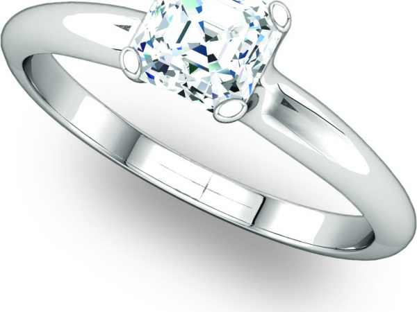 Solitaire Engagement Ring for an Asscher Cut by Ever & Ever