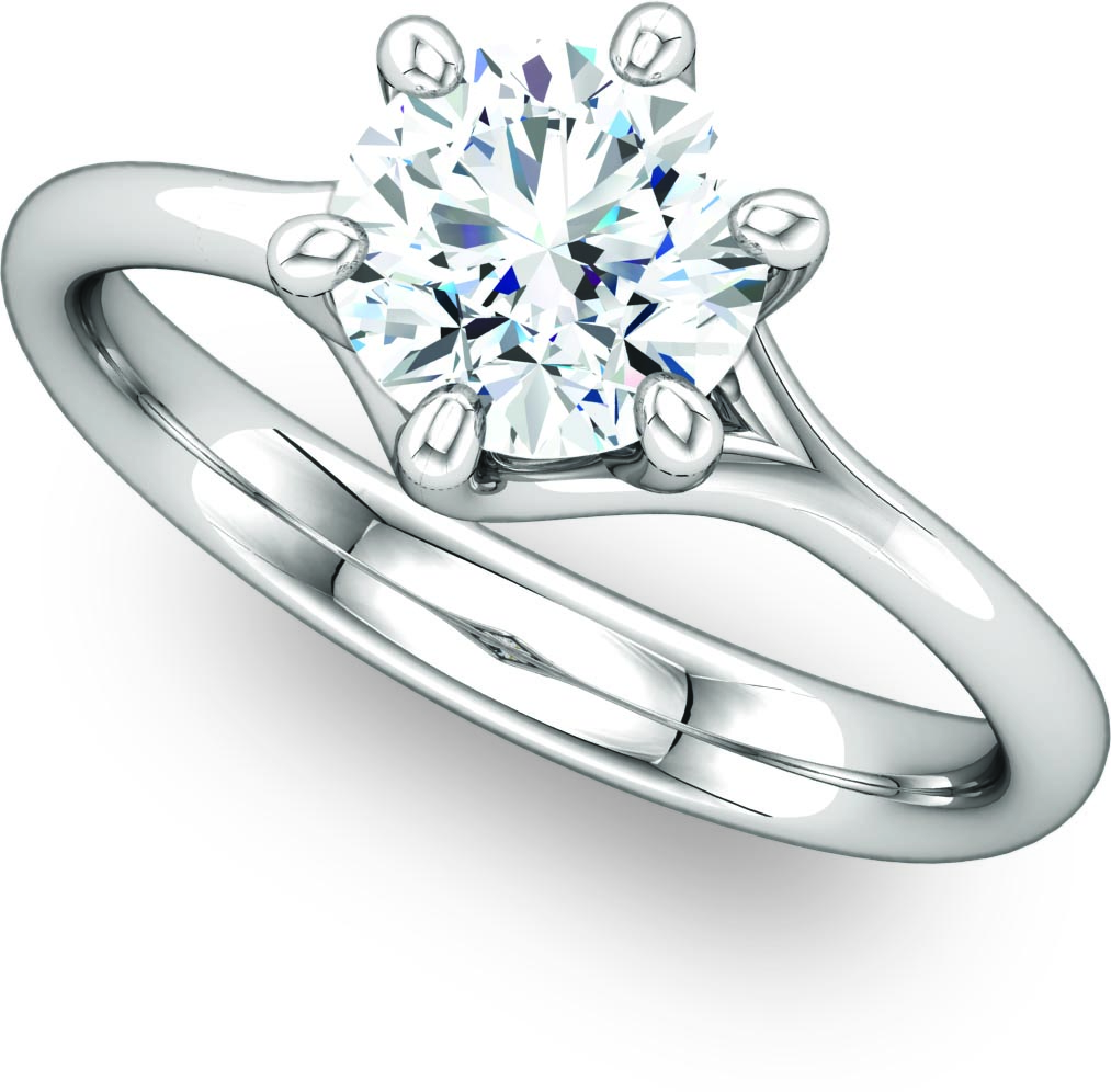 Fancy Six Prong Round Solitaire Engagement Ring by Ever & Ever
