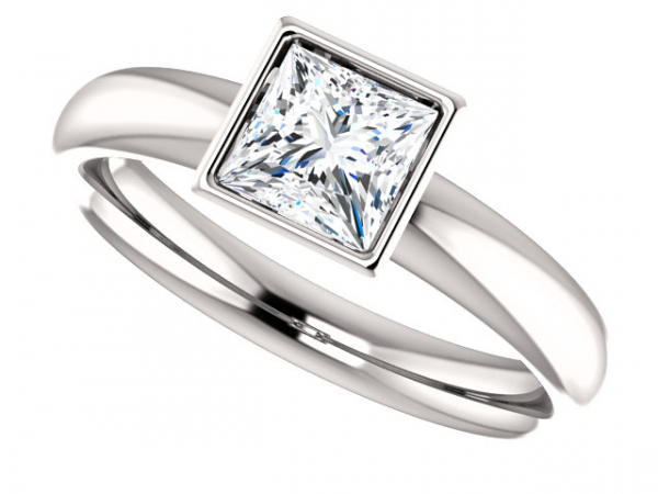 Princess Cut Bezel Solitaire Engagement Ring by Ever & Ever