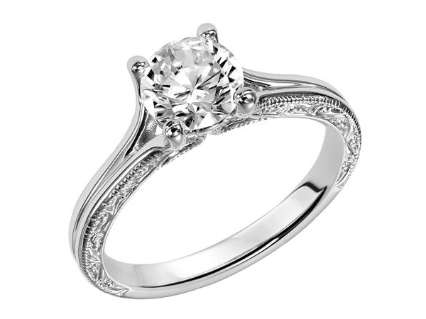 Engraved Milgrain Split Shank Solitaire Ring by Frederick Goldman