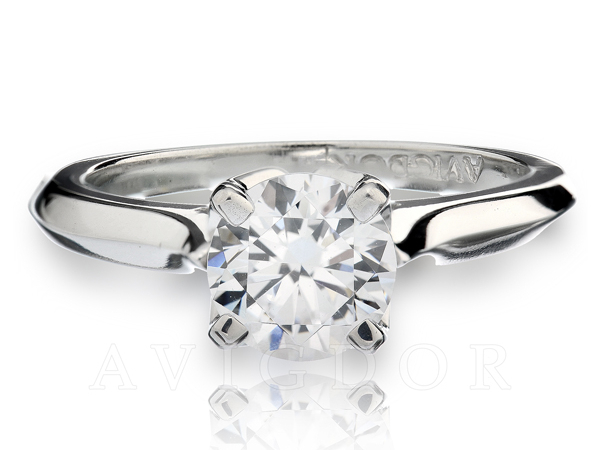 Fancy Crown Cathedral Solitaire Engagement Ring by Avigdor