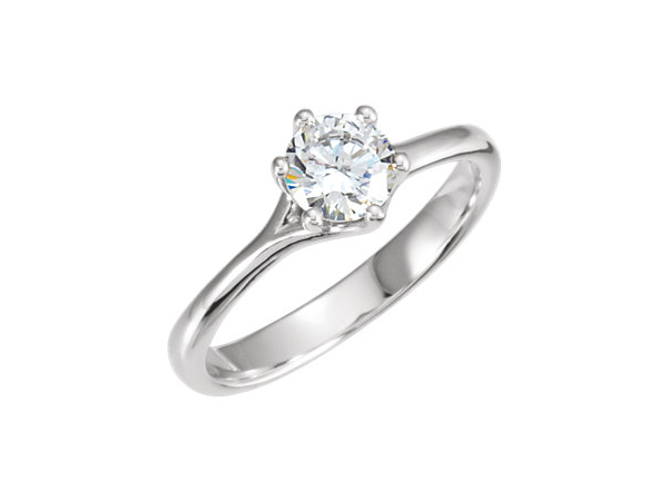Fancy Six Prong Round Solitaire Engagement Ring by Stuller
