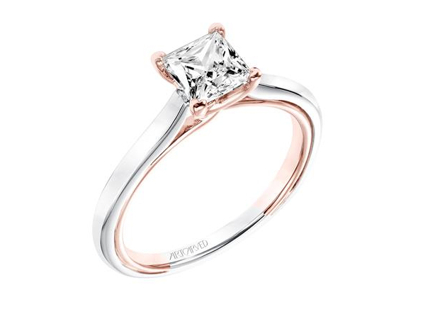 White & Rose Gold Detail Solitaire Engagement Ring by ArtCarved