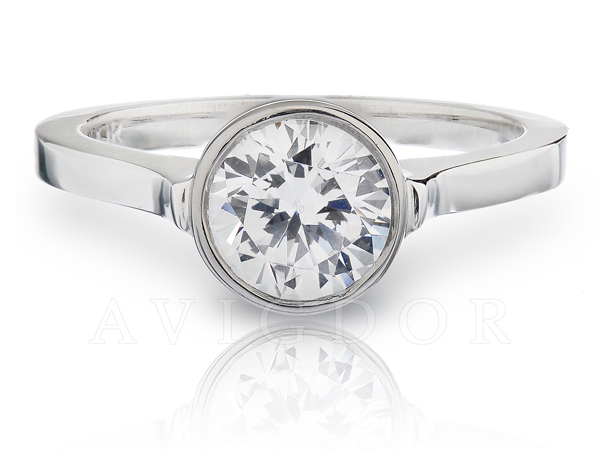 White Gold Round Bezel Set Solitaire by Avigdor
