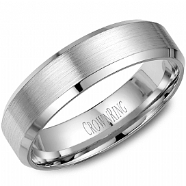 14K White Gold Beveled Edge Band by Crown Ring