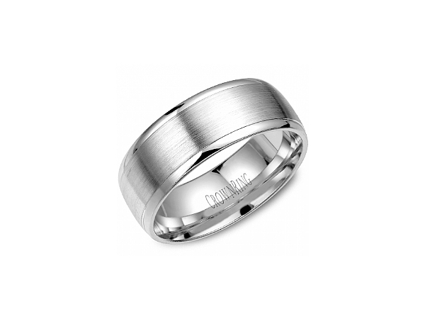 White Gold 8mm High Polish Edge Band by Crown Ring