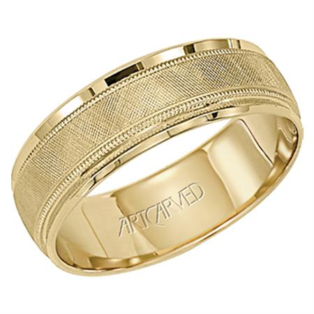 Yellow Gold Band with Cross Hatch Design and Milgrain by Artcarved Men