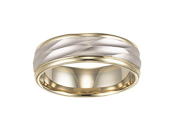 Yellow and White Gold Comfort Fit Engraved Band by Artcarved Men