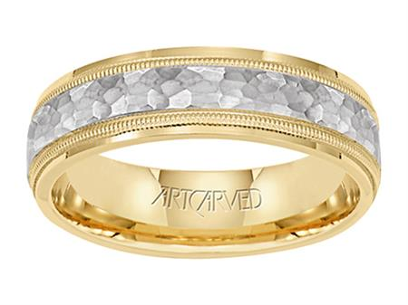 Yellow Gold Band with White Gold Hammered Center by Artcarved Men