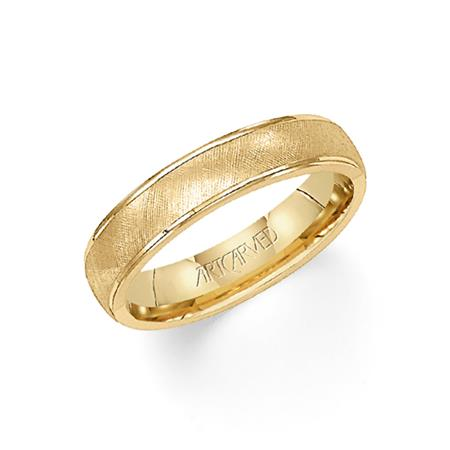 Yellow Gold Textured Design Band with High Polish Edges by Artcarved Men