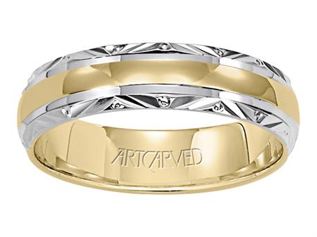 Yellow Gold Band with Rhodium Engraved Trim by Artcarved Men