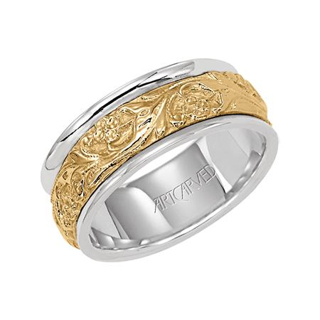 White Band with Yellow Gold Intricate Engraved Center by Artcarved Men