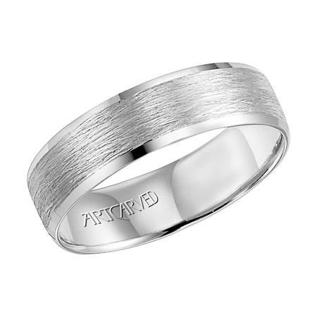 White Gold Lightweight Engraved Wedding Band with Satin Finish by Artcarved Men