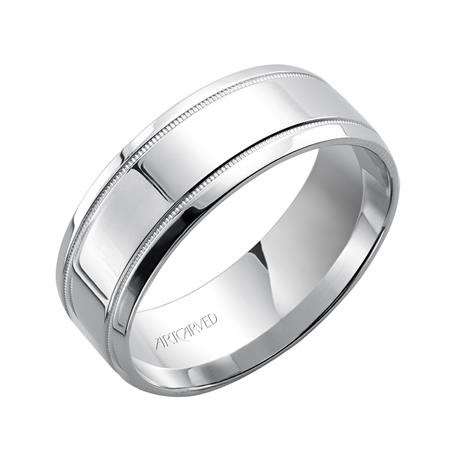 14K WG High Polish Band with Milgrain Detail by Artcarved Men