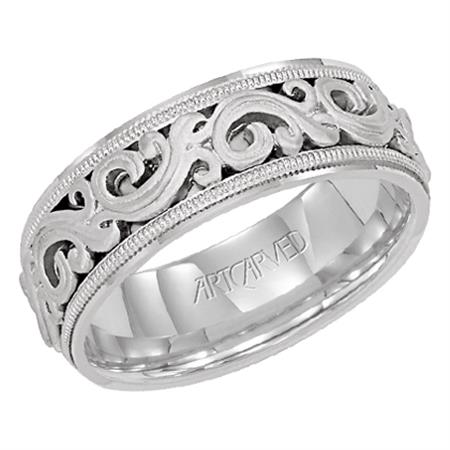 WG 7.5mm Intricate Scroll Design Band by Artcarved Men