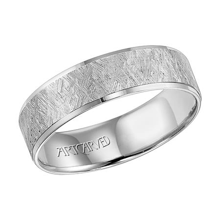14k White Gold Hammered Band by Artcarved Men