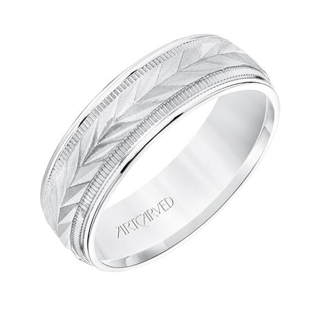 WG Band with Chevron Engraved Center by Artcarved Men