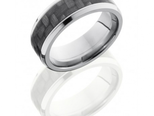 8mm Titanium Band with 5mm Carbon Fiber Center by Lashbrook Designs