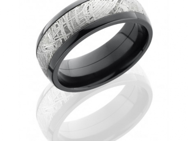 8mm Black Zirconium Band with Meteorite Center by Lashbrook Designs