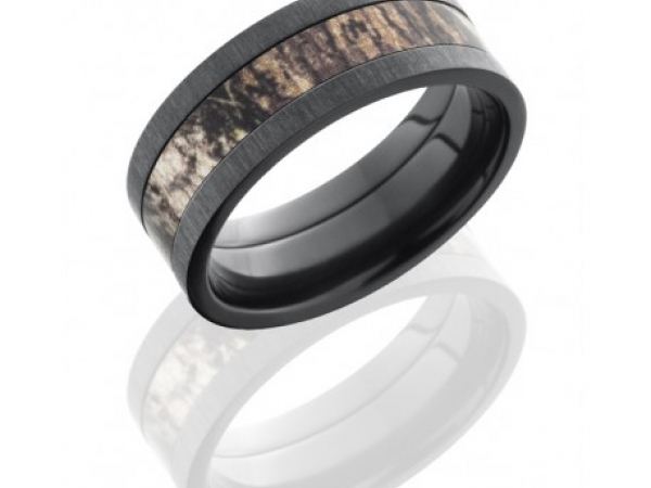 8mm Zirconium Band with Camouflage Center by Lashbrook Designs
