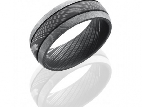 8mm Damascus Steel Band by Lashbrook Designs