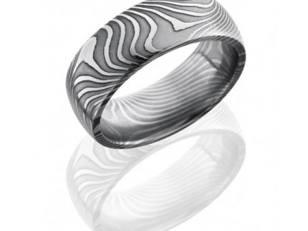 8mm Flat Twist Damascus Steel Band by Lashbrook Designs