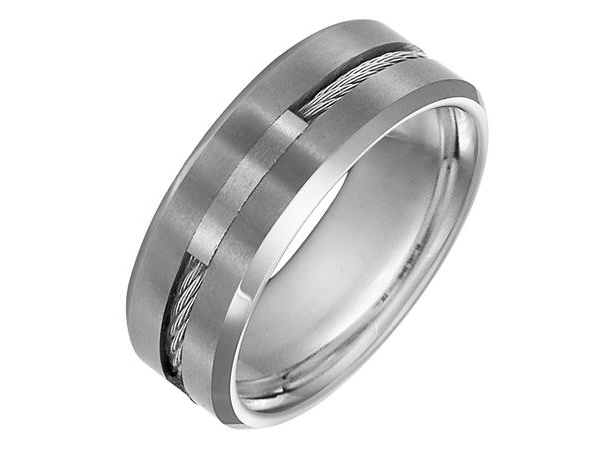 Tungsten Band with Steel Cable Inlay by Triton