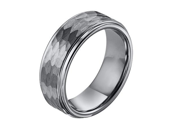 8mm Tungsten Band with Hammered Finish by Triton