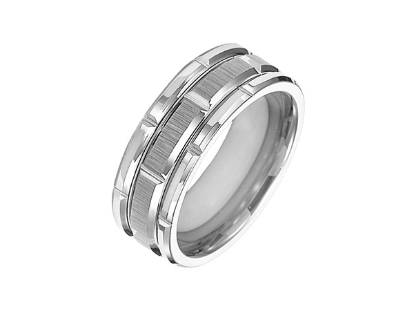 8mm Tungsten w/Satin Vertical Lines Wedding Band by Triton