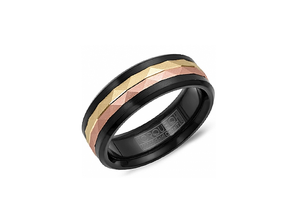 Black Cobalt Ring with 14K Yellow and Rose Gold Inlay by Torque