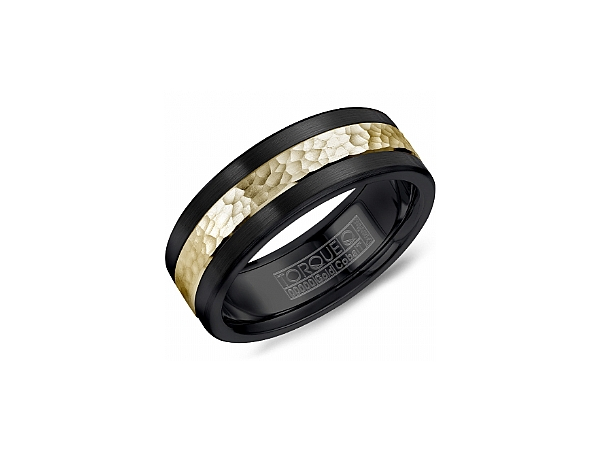 Black Cobalt Ring with Hammered Yellow Gold by Torque
