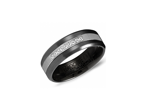 7mm Black Cobalt Ring with .06 ctw by Torque