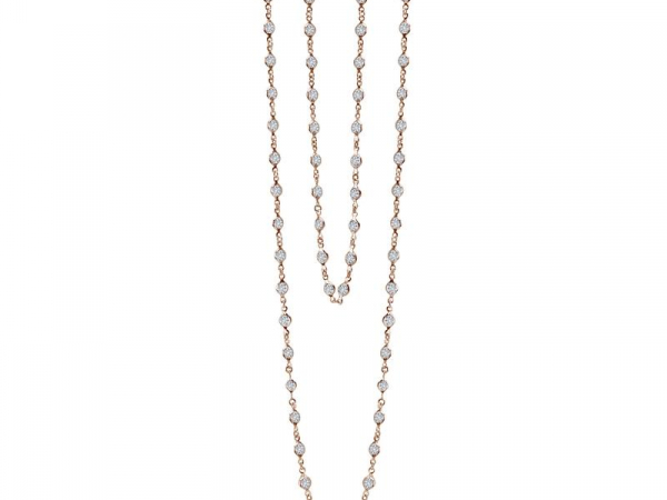 "36"" CZ and Rose Gold Plate Station Necklace by Lafonn"