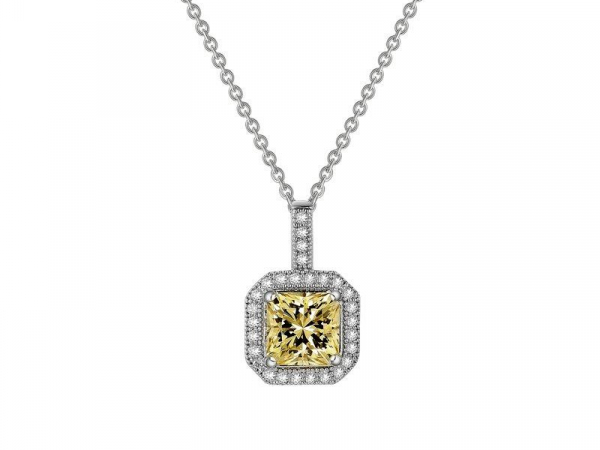 Canary Princess Cut Halo Pendant by Lafonn