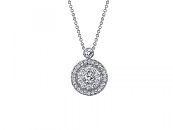 Double Halo Style Pendant Necklace by Lafonn