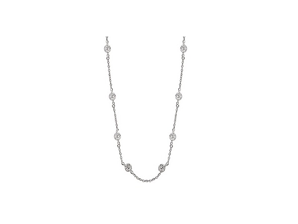 "60"" Sterling silver and CZ Station Necklace by Elan Fashion"