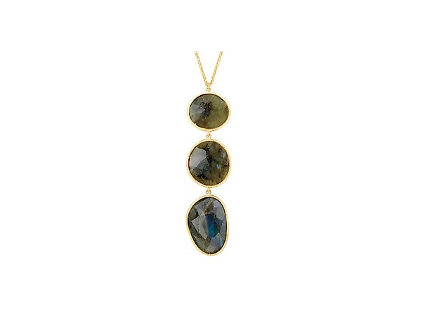 18K YG over Sterling Labradorite Drop Necklace by Elan Fashion