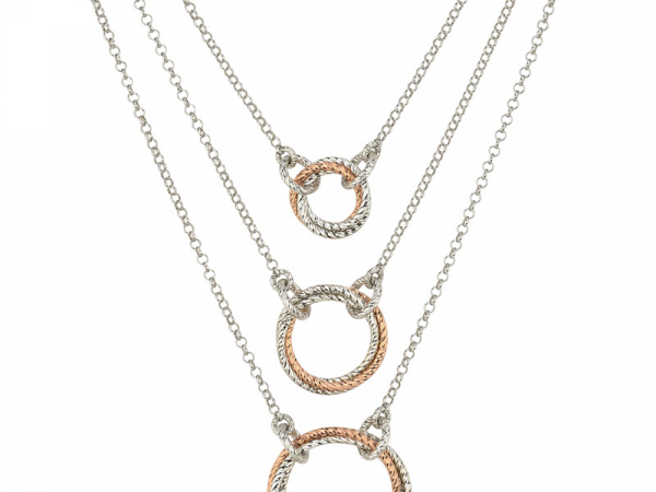 Sterling RG Plated 3 Tier Necklace by Frederic Duclos