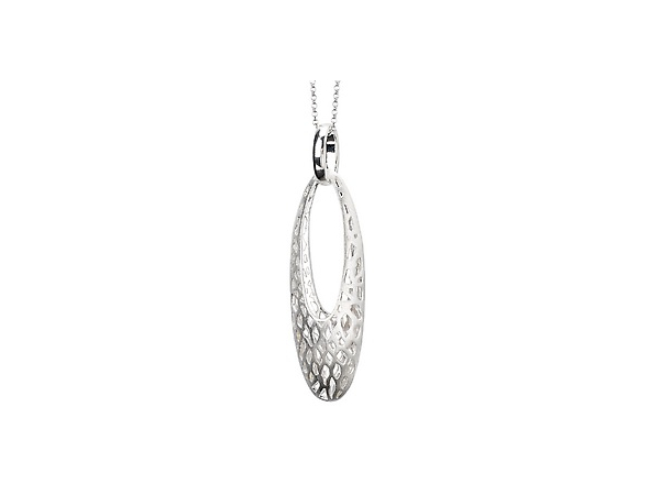 "Sterling Satin Finish Elongated Pendant with 18"" Chain by Elan Fashion"