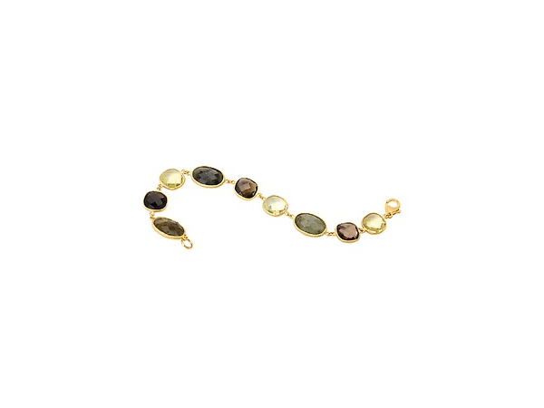 Multi Stone 18K YG over Sterling Bracelet by Elan Fashion
