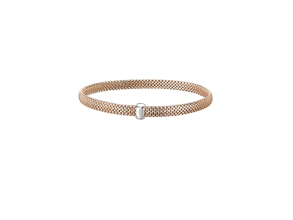14K Rose Gold over 925 Thin Basket Weave Bracelet by Elan Fashion