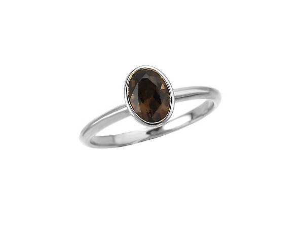 Sterling Stackable Ring with Oval Smoky Quartz by Elan Fashion