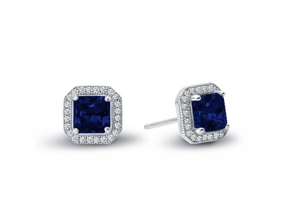Blue Lab Grown Sapphire Princess Cut Halo Style Earrings by Lafonn