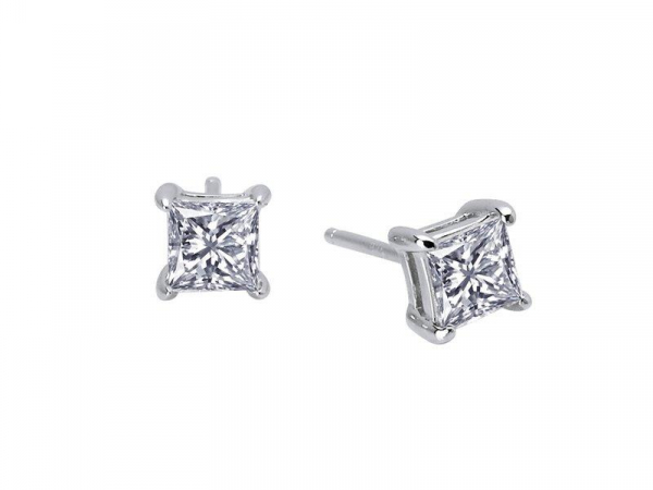1 Carat 4 Prong Princess Cut Stud Earrings Simulated Diamond by Lafonn