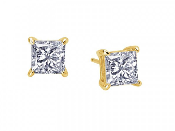2-1/2 Carat 4 Prong Princess Cut Stud Earrings Simulated Diamond by Lafonn