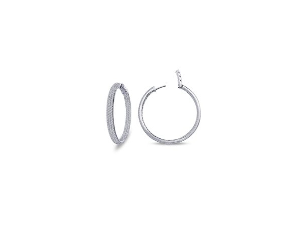 Open Hinged Three Row Round Inside Out Hoops 30mm by Lafonn