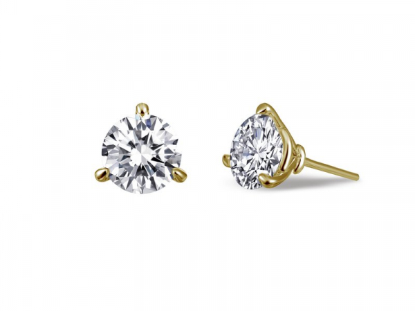 3 Prong Martini Setting Stud Earrings Simulated Diamond by Lafonn