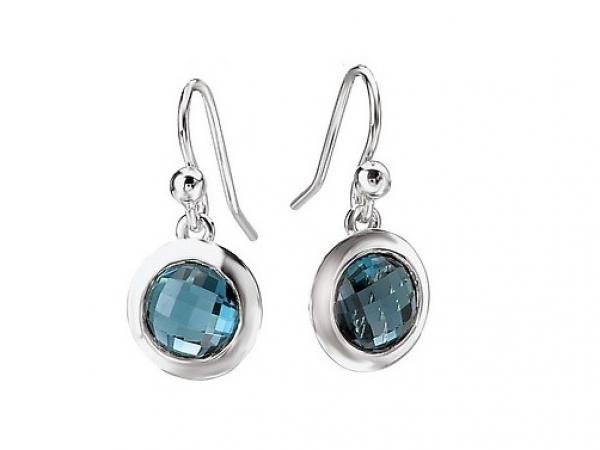 London Blue Topaz French Hook Sterling Earrings by Elan Fashion