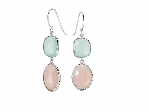 Aqua and Pink Chalcedony Ear Hook Earrings by Elan Fashion