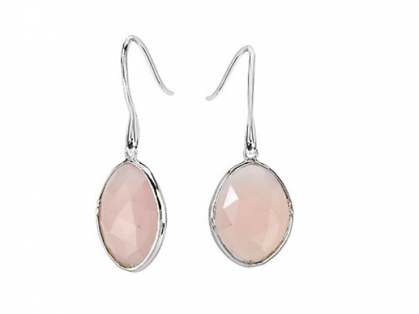Sterling Pink Chalcedony Earrings by Elan Fashion